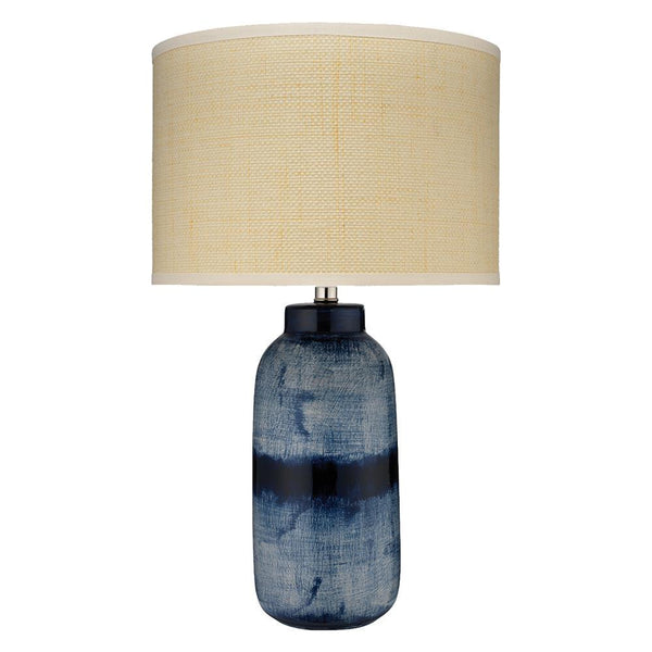 Jamie Young Large Batik Table Lamp in Indigo Ceramic