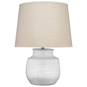 Jamie Young Small Trace Table Lamp in White Ceramic