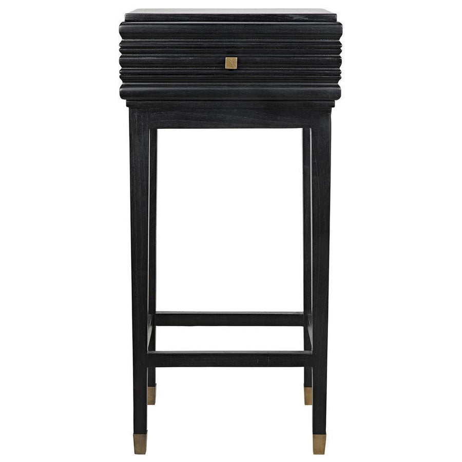 Noir Kitame Black Side Table with Drawer