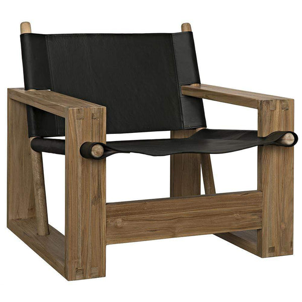 Noir Agamemnon Teak and Leather Chair