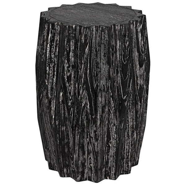 Noir Tamela Cinder Black Stool Side Table