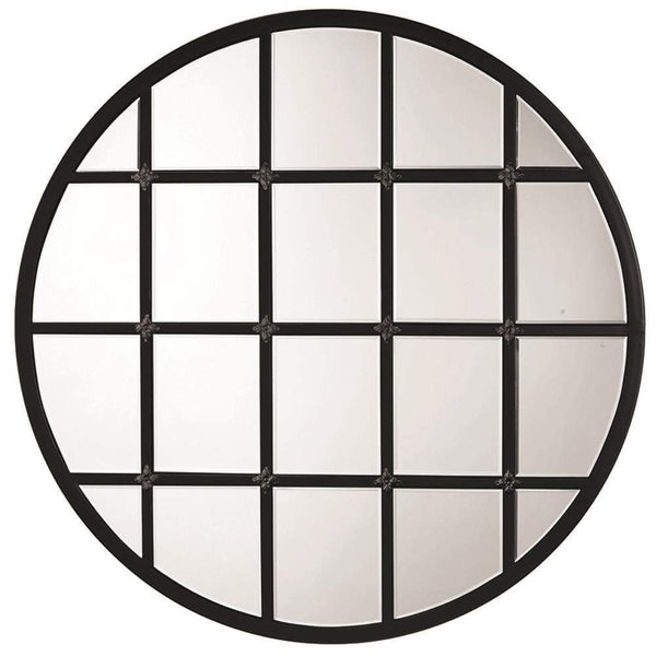 Jamie Young Round Metal Grid Mirror