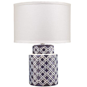 Jamie Young Marina Table Lamp in Blue and White Ceramic