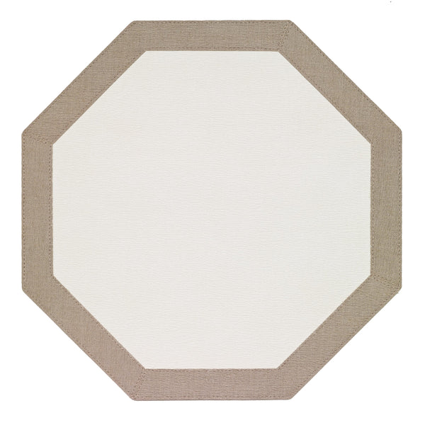 Bodrum Bodrum Bordino Octagon Placemat - Antique White & Oatmeal - Set of 4 LBR8081HEX4