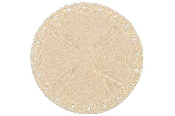 Nomi K Ivory and Pearl Round Beaded Placemat