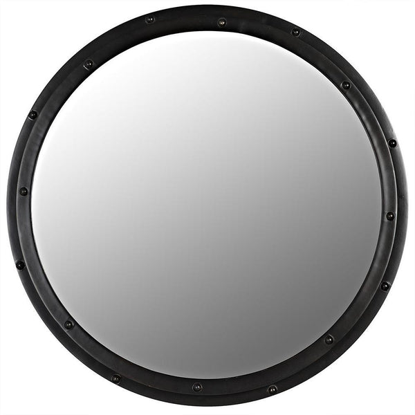 Noir Metal Black Round Mirror