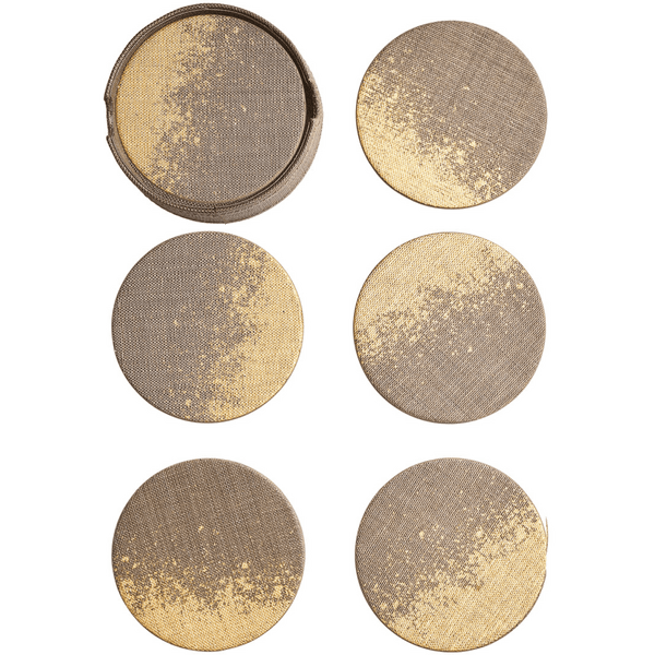 Kim Seybert Metafoil Set Of 6 Coaster in Taupe & Brown | Alchemy Fine Home