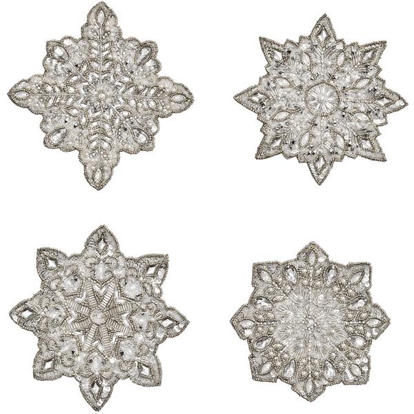 Kim Seybert Snowflake Set Of 4 Coaster in Crystal & Silver | Alchemy Fine Home