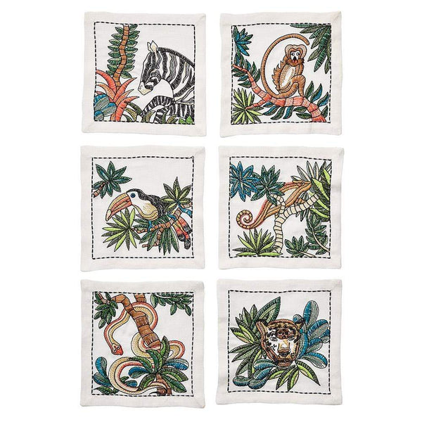 Mali Cocktail Napkin in White & Multi - Set of 6 by Kim Seybert | Alchemy Fine Home