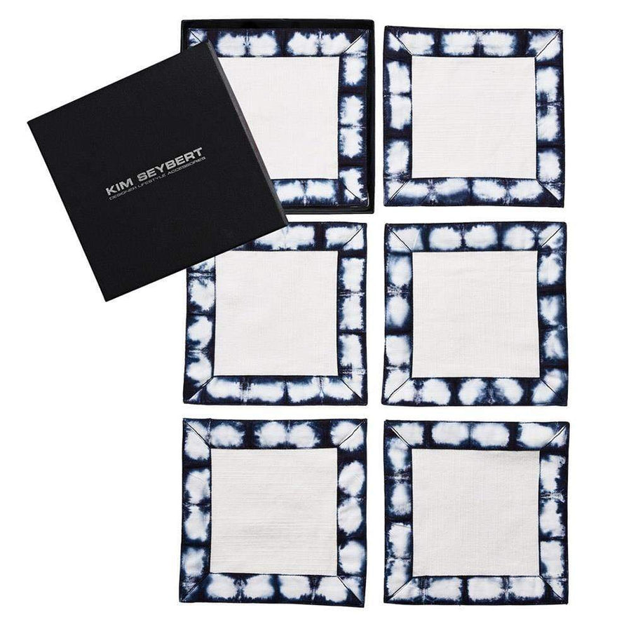 Shibori Cocktail Napkin in White & Navy - Set of 6 by Kim Seybert | Alchemy Fine Home