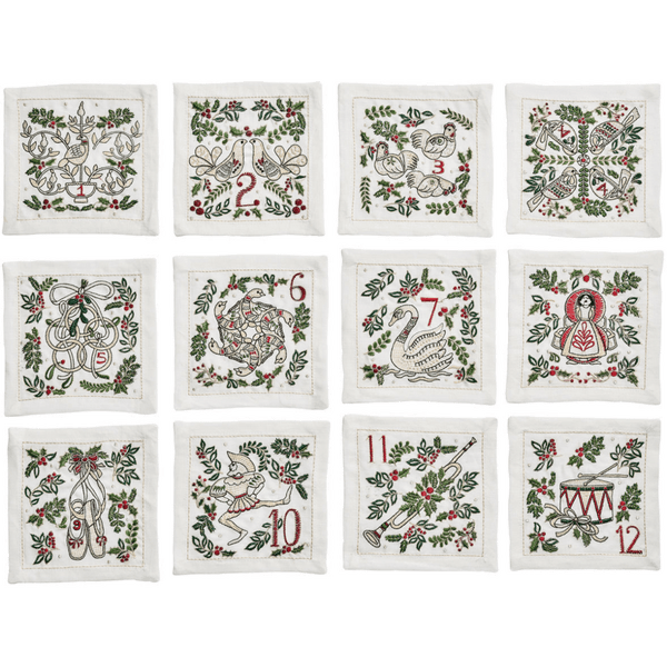Kim Seybert 12 Days Of Christmas Cocktail Napkins in White | Alchemy Fine Home