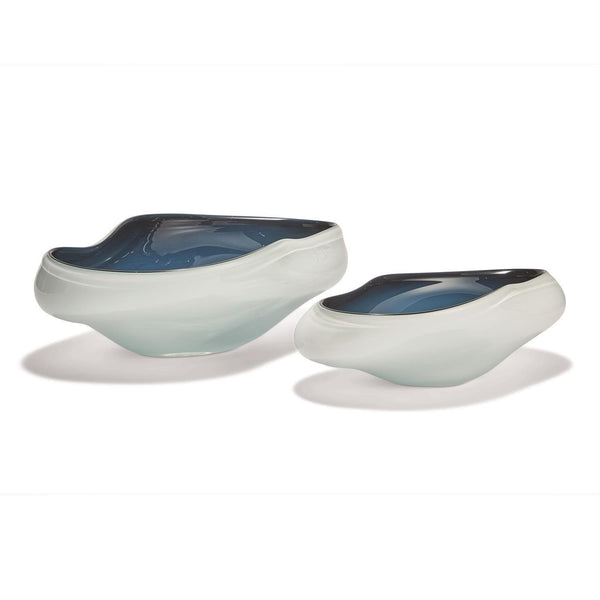 Tozai Home Set of 2 White/Blue Bowls | Alchemy Fine Home