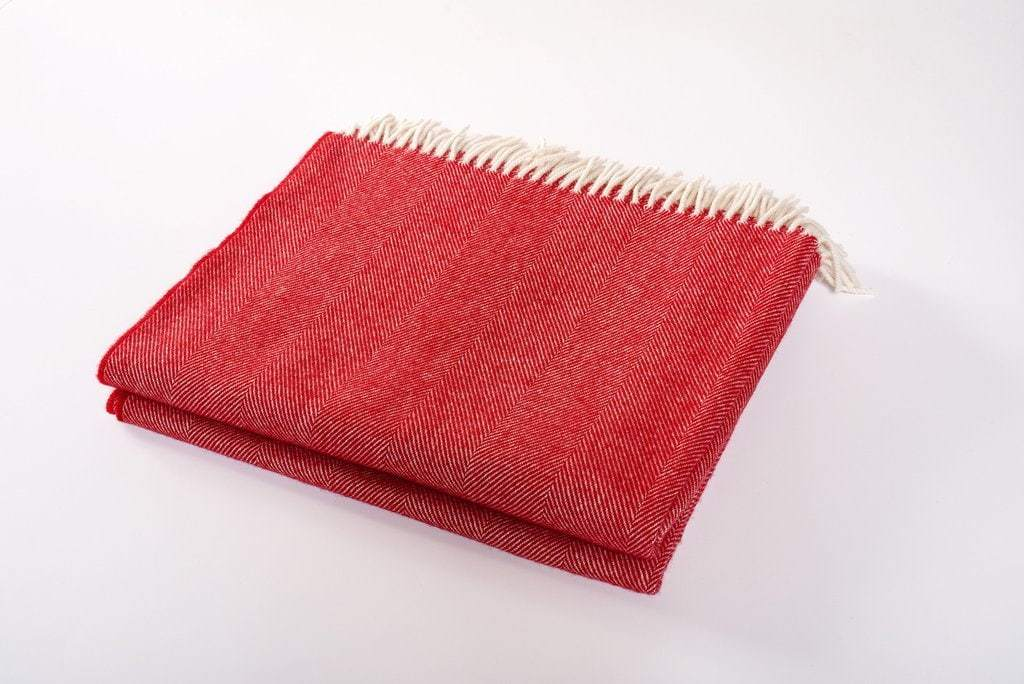 Harlow Henry Harlow Henry Merino Wool Collection Throw - 8 Available Colors Crimson SCT01