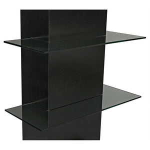 Noir Colombo Black Shelving with Glass