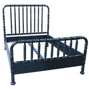 Noir Bachelor Hand Rubbed Black Queen Bed Frame