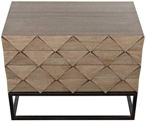 Noir Draco Washed Walnut Sideboard with Metal Stand