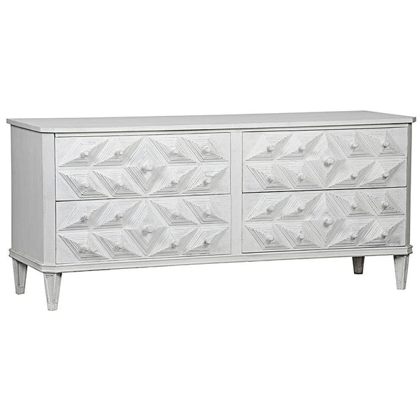 Noir Giza 4-Drawer White Dresser