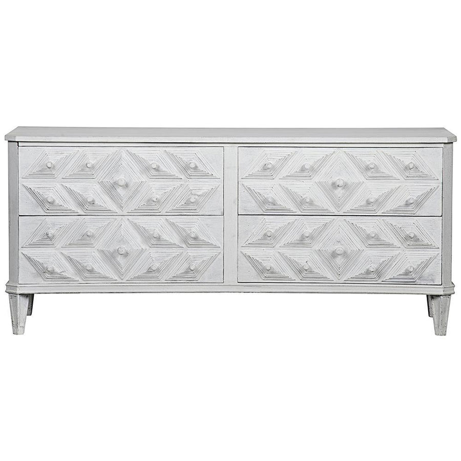 Noir Noir Giza 4-Drawer White Dresser GDRE179-2WW