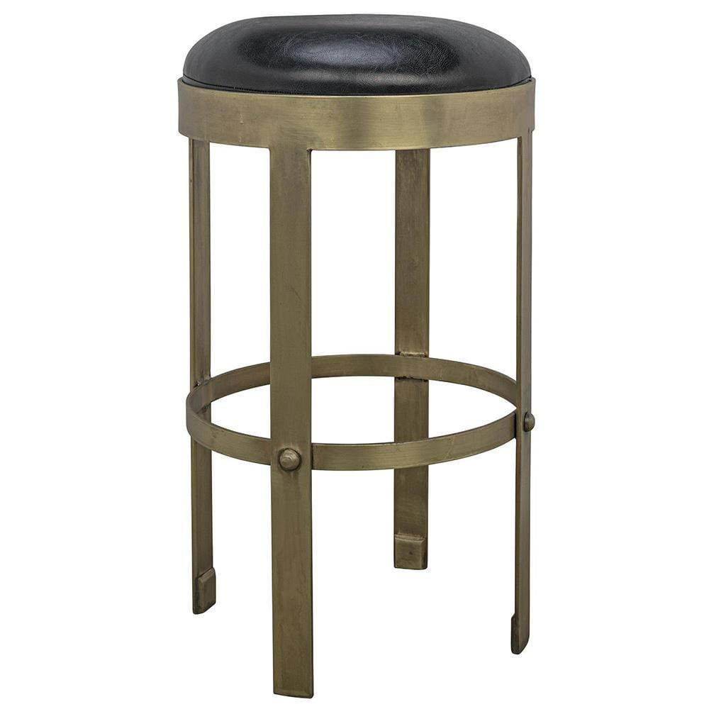 Noir Noir Prince Counter Stool with Leather GSTOOL146MB-S
