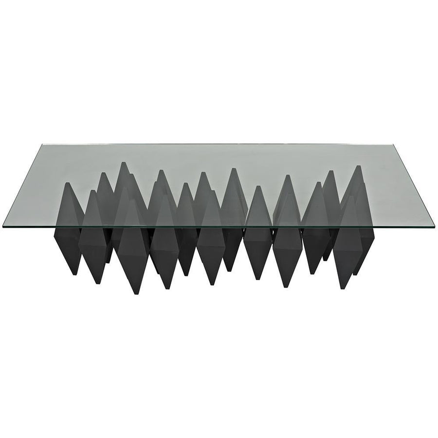 Noir Bast Black Metal Coffee Table with Glass Top