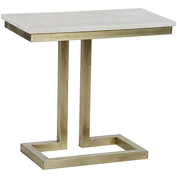 Noir Noir Alonzo Side Table with White Stone GTAB359MB