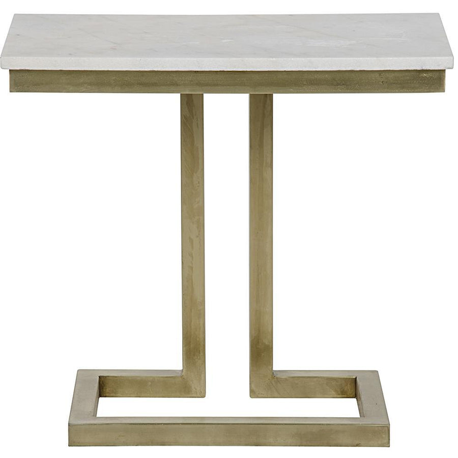 Noir Alonzo Side Table with White Stone