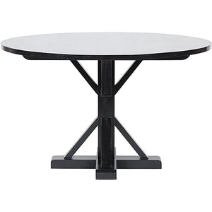 "Noir 48"" Criss-Cross Hand Rubbed Black Round Table"
