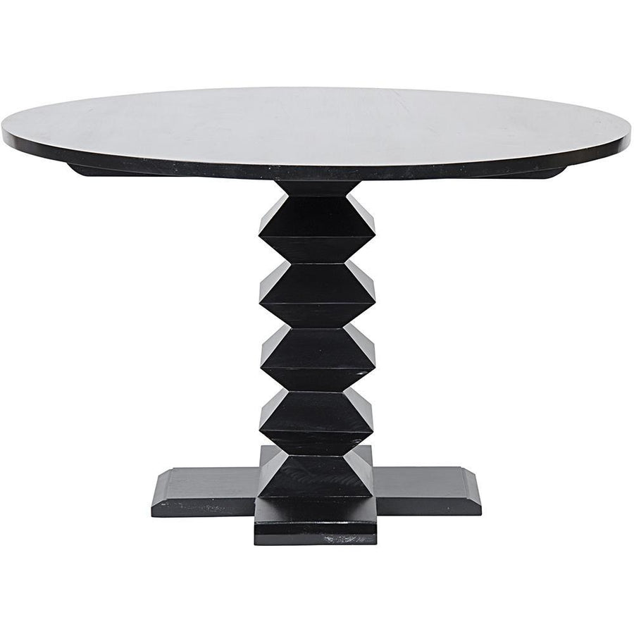 "Noir 48"" Zig-Zag Hand Rubbed Black Dining Table"