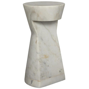 Noir Omon White Stone Side Table
