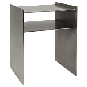 Noir Cyrus Antique Silver Finish Side Table