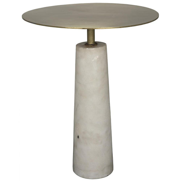 Noir Hotaru White Marble Side Table