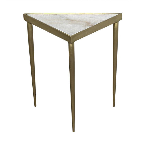 "Noir Noir Comet Triangle Stone Side Table - 3 Available Sizes Large, 20"" W x 10"" D x 20"" H (11 lbs.) GTAB844MB-L"