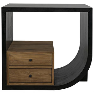 Noir Burton Hand Rubbed Black Right Side Table