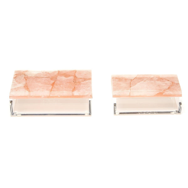 Tozai Home Set of 2 Pink Quartz Boxes Quartz/Resin/Acrylic | Alchemy Fine Home