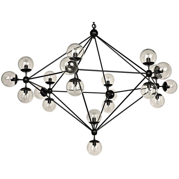Noir Pluto Large Black Metal Chandelier
