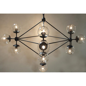 Noir Pluto Small Black Metal Chandelier