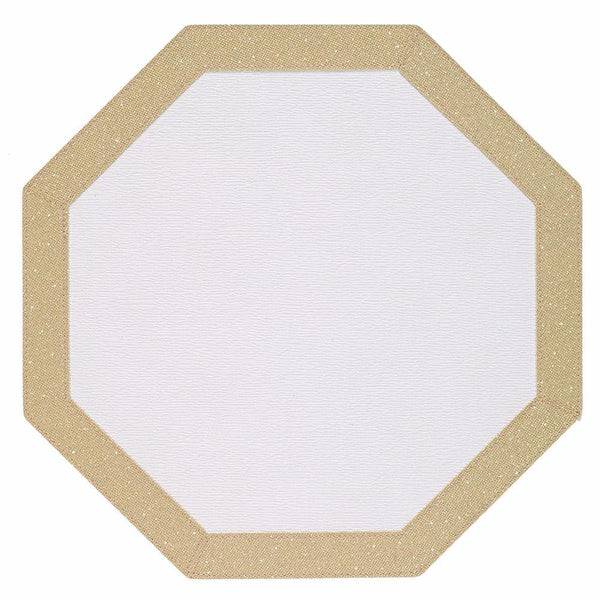 Bodrum Bodrum Bordino Placemat - Antique White & Gold - Set of 4 LBR8010HEX4