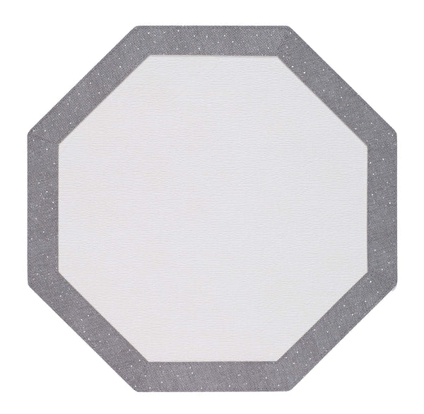 Bodrum Bodrum Bordino Octagon Placemat - Antique White & Silver - Set of 4 LBR8011HEX4