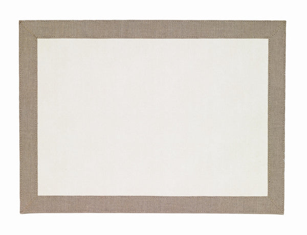 Bodrum Bodrum Bordino Rectangle Placemat - Antique White & Oatmeal - Set of 4 LBR8081REC4