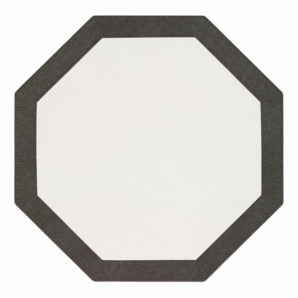 Bodrum Bodrum Bordino Octagon Placemat - Antique White & Charcoal - Set of 4 LBR8083HEX4