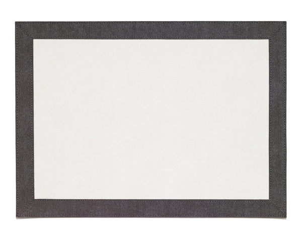 Bodrum Bodrum Bordino Rectangle Placemat - Antique White & Charcoal - Set of 4 LBR8083REC4