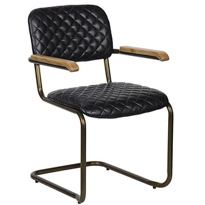 Noir 0045 Vintage Black Leather Arm Chair