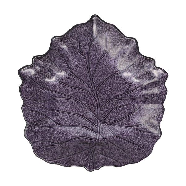 Leaf Glass Purple Elm Leaf Plate