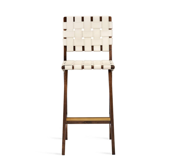 Interlude Home Louis Bar Stool in Walnut - Antique Bronze Finish - Mediterranean Sand Upholstery