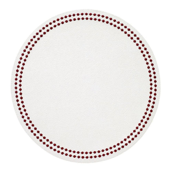 Bodrum Bodrum Pearls Placemat - Antique White & Ruby - Set of 4 LPR8017P
