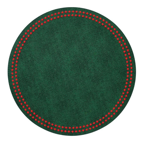 Bodrum Bodrum Pearls Placemat - Forest & Red - Set of 4 LPR9911P