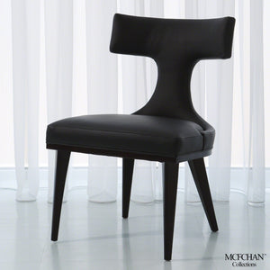 Global Views Global Views Anvil Back Black Leather Dining Chair MC-2510