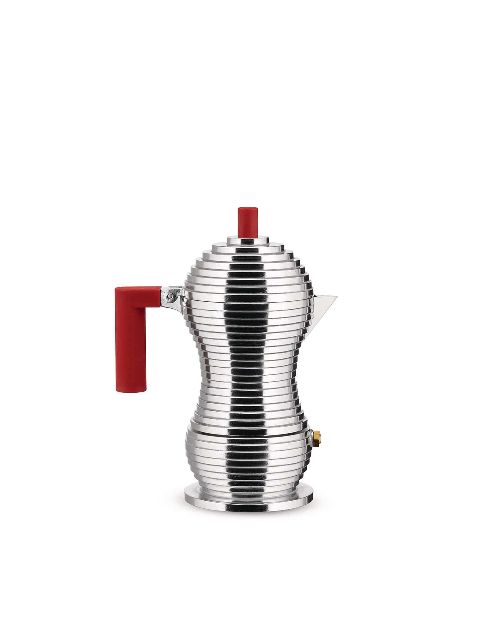 Alessi Alessi Pulcina Espresso Coffee Maker - Small - Silver & Red MDL02/3RFM
