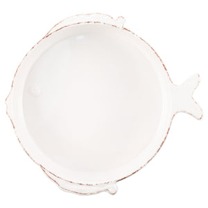 Vietri Vietri Melamine Lastra Fish White Medium Serving Bowl MFSF-W2324