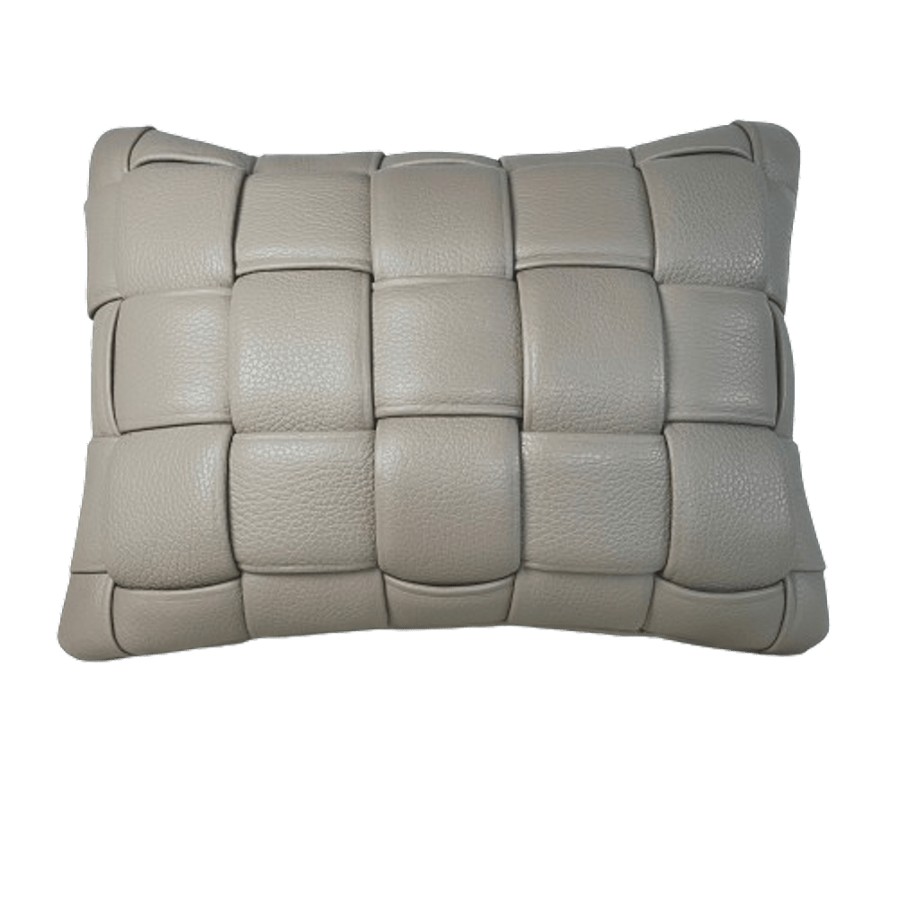 Koff Mini Woven Leather Pillow - Taupe